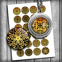Digital Collage Sheet Ornaments Gold Printable by MobyCatGraphics, $3.80
