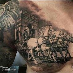 Close up shot! Chest piece by artist Tomas Vaitkunas Chest Piece Tattoo Mens, Full Chest Tattoos, Best Sleeve Tattoos, Gott Tattoos, Weird Tattoos, Arm Tattoos For Guys, Gladiator Tattoo, Tattoos Arm Mann, Body Art Tattoos