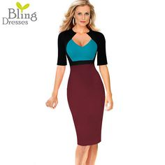 Sexy Deep V Neckline Colorblock Summer Women Fitted Sheath Dress 2016 Fashion Half Sleeve Empire Waist Casual Work Pencil Dress