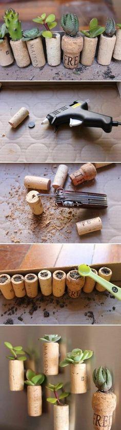 kleine blumentöpfe, heißklebepistole, messer, pflanzen, wanddeko
