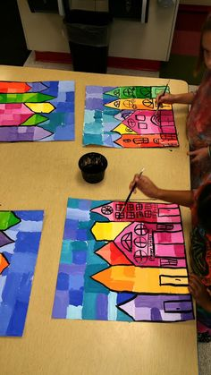 Paintbrush Rocket: Ton Schulten 3rd Grade Cityscapes Warm and Cool
