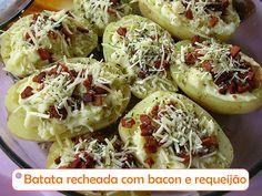 Batata recheada com bacon e requeijão cremoso ----@---- Stuffed potato with bacon and cream cheese