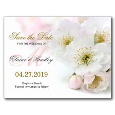 Floral Wedding Save The Date Postcard With Spring Blossom #Floral #Wedding #SaveTheDate #Spring