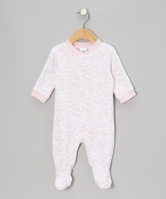 Take a look at this Pink & White Marble Stripe Footie - Infant by Baby Gear on #zulily today!
