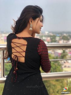 Athulya Ravi Movie Photos, Stills Kurti Back Neck Designs, Simple Kurta Designs, Churidar Neck Designs, Neck Designs For Suits, Kurta Designs Women, Salwar Designs, Blouse Neck Designs, Back Dress Design, Sleeves Designs For Dresses