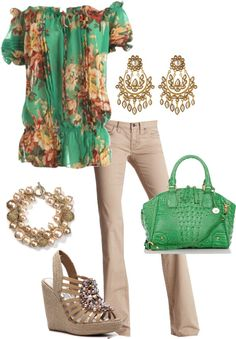 Green and Beige, created by tammietoo2 on Polyvore