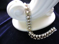 Vintage Silver Tone Bookchain Bracelet with High Set Pearls and Gold Tone Accents.