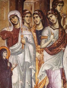 Byzantine Fresco By Manuel Panselin Protaton Church Mount Athos. Greece The Entrance of the Most Holy Theotokos into the Temple Icons, Frescoes, Mosaics / OrthoChristian. Russian Icons, High Priest, Byzantine Icons, Blessed Virgin Mary, Orthodox Icons, 14th Century, Roman Empire, Fresco, Greece