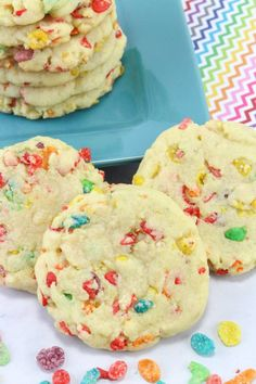 Easy Desserts For Kids, Cookie Recipes For Kids, Kid Desserts, Cereal Recipes, Easy Snacks, Delicious Desserts, Party Desserts, Baking Recipes, Fruity Pebble Cookies