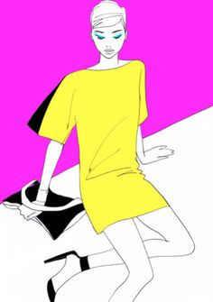 Fashion Illustration - Aimee Levy - monstylepin #fashion #illustration #yellow #dress