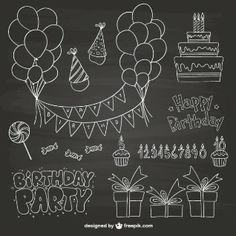 Discover the best free resources of Happy Birthday - chalkboard Chalkboard Wall Art, Chalkboard Doodles, Chalk Wall, Chalkboard Lettering, Chalkboard Designs, Chalkboard Drawings, Birthday Card Drawing, Birthday Cards, Art Birthday