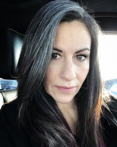 Salt and Pepper hair. Ditched the dye Black Hair Going Grey, Grey White Hair, Girls With Black Hair, Long Gray Hair, Going Gray, Mom Hairstyles, Pretty Hairstyles, Grey Hairstyle, Grey Hair Inspiration