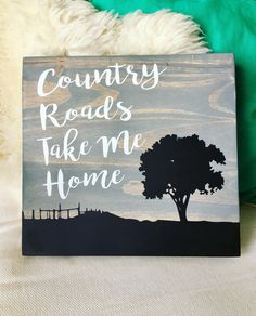 Country Roads, Take Me Home, Quote Art, Song Art, Grey Black White, Rustic Art, Wood Wall Art, Home Decor, Wall Decor, Wood Sign, Painting by parkhillartistry on Etsy