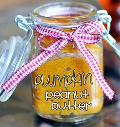 Pumpkin peanut butter: http://chocolatecoveredkatie.com/2011/09/13/pumpkin-nut-butter/