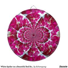 White Spider on a Beautiful Red Rose Dart Board   Latest #Hakuna Matata beautiful #Fantastic Feminine cute nice lovely Design Gifts