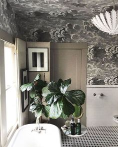 30 Unique Home Decor Ideas That Are Totally Doable - Stunning use of ceiling wallpaper in this bathroom decor homedecor 317574211223122741 Bathroom Niche, Bathroom Sets, Bathroom Flooring, Bathroom Furniture, Master Bathroom, Fornasetti Wallpaper, Piero Fornasetti, Cole And Son Wallpaper, Home Wallpaper