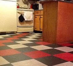 John's kitchen before-and-after: Linoleum tile flooring transforms the room - Retro Renovation Basement Flooring, Tile Floor, Store Interiors, Tile Design, Retro Renovation, Linoleum Flooring, Marmoleum, Flooring, Marmoleum Floors