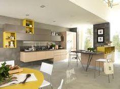 #cocinas Diseño de cocina con muebles suspendidos en amarillo y madera
