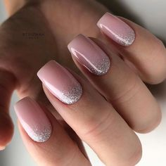Silver Glitter Ombre Accents ❤ Intricate Short Acrylic Nails To Express Yourself ❤ See more - Carpets Mag Pink Nail Designs, Short Nail Designs, Acrylic Nail Designs, Light Pink Acrylic Nails, Square Acrylic Nails, Light Nails, Squoval Acrylic Nails, Light Colored Nails, Coffin Nails