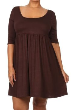 - Juniors Sizing - 95%RAYON 5%SPANDEX - USA - This dress features a scoop neckline, soft knit fabric, empire waistline, a-line silhouette, and elbow length sleeves. - Our 3/4 Sleeve Empire Waist Babyd