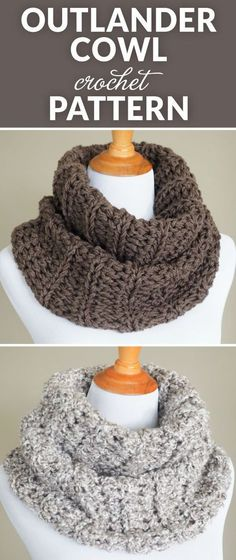 Claire's Outlander Crochet Cowl - Free Pattern. Inspired by the knitwear on the Outlander TV series, this Sassenach Cowl is quick and easy to make, even for beginners. #crochet #crochetlove #yarnlove #CrochetScarf Crochet Cowl Free Pattern, Free Cowl Knitting Patterns, Knitting And Crocheting, Crocheted Scarves Free Patterns, Hat Patterns, Easy Knitting, Crochet Beanie, Crochet Cowls, Beginner Crochet Scarf