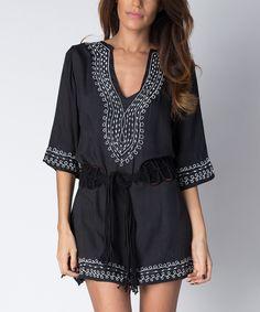 Black & White V-Neck Dress & Belt | zulily