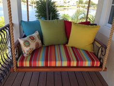 Balcony daybed made from old shutters.