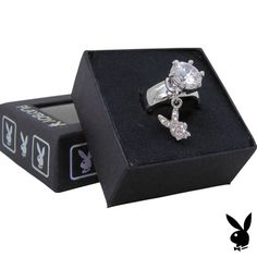 Playboy Ring Solitaire Swarovski Crystal Bunny Charm Platinum Plated Size 7 RARE #Playboy #playmate #cybergirl
