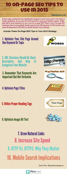 """10 On -Page SEO Tips To Use in 2015"" #SEO #onpageseo2015 #Website Read here for detailed information about this:http://www.pinterest.com/pin/500744052293913472/"
