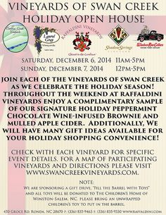 Celebrate the holidays with the Vineyards of Swan Creek at our Holiday Open House Romantic Night, Four Seasons, Wine Tasting, Open House, Swan, Vineyard, Events, Holidays, Celebrities