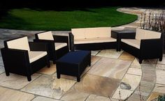 Patio Furniture Set Coffee Table Arm Chairs Outdoor Garden Sofa Rattan Large Big for sale online Rattan Garden Furniture Sets, Garden Sofa Set, Furniture Sofa Set, Diy Outdoor Furniture, Outdoor Chairs, Outdoor Decor, Funny Furniture, Cozy Place, Conservatory