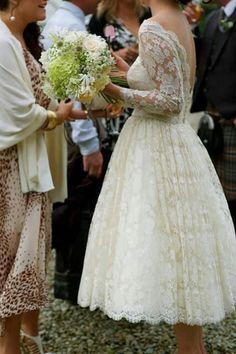 Beautiful knee length wedding dress