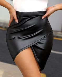 High Waist Surplice PU Skirt trendiest dresses for any occasions, special event dresses, accessories and women clothing. Trend Fashion, Latest Fashion, Women's Fashion, Fashion Skirts, Fashion Outfits, Elegantes Outfit, Womens Fashion Online, Mode Style, Pattern Fashion