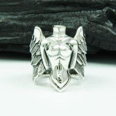 Angel of Lust 925 Sterling Silver US Size 8 Men's Biker Rocker Gothic Ring Gothic Engagement Ring, Perfect Engagement Ring, Argent Sterling, Sterling Silver, Girls Jewelry Box, Biker Rings, Gold Jewelry, Jewellery, Rings For Men