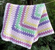 Crochet Granny Square Baby Blanket Baby by sweetpeacollections