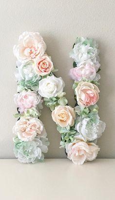 Flower Letter Boho Floral Letter Shabby Chic Nursery Decor