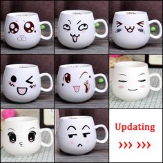 Online Shop YEFINE Creative Cute Expression Ceramic Mugs Water Container Cups And Mugs Porcelain Tea Cup Coffee Mug Wholesale Porcelain Mugs, Porcelain Jewelry, Ceramic Cups, Fine Porcelain, Diy Becher, Coffee Cups, Tea Cups, Diy Mug Designs