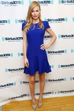 We think this is the perfect hue against Kate Bosworth's porcelain skintone. The actress donned an electric blue Alexander McQueen dress with cap sleeves and a flared hem to visit the SiriusXM Studios. Grey Jimmy Choo heels topped off the elegant look.