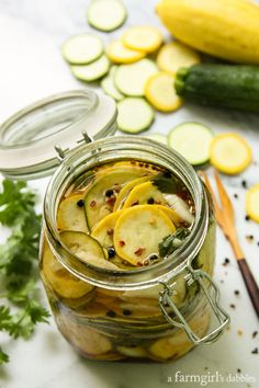 Spicy Squash Refrigerator Pickles from @farmgirlsdabble