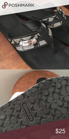 Black and grey coach sandals These authentic coach sandals come in size 8, the logo is grey and black. These sandals are very comfortable. Coach Shoes Sandals