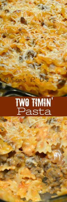This Two Timin' Pasta is makes a quick & easy dinner. A yummy sausage stuffed casserole, it serves as an easy dish for my week night menu. It gets bonus points that I don't have to choose between sauces. And who doesn't want to add a lil somethin' saucy i Beef Recipes, Italian Recipes, Cooking Recipes, Recipies, Italian Cooking, Vegetarian Cooking, Vegan Meals, Easy Cooking, Healthy Meals