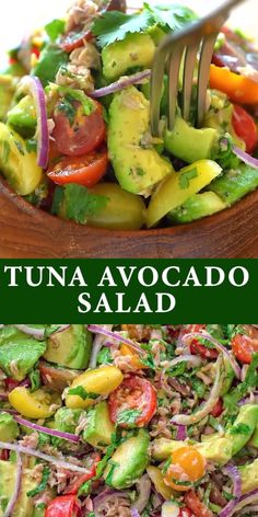 Tuna Avocado Salad - Very simple, flavorful, and tasty, this Avocado Tuna Salad requires just a few ingredients and 10 m - Avocado Tuna Salad, Avocado Salad Recipes, Best Salad Recipes, Avocado Chicken, Bacon Avocado, Chicken Salad, Healthy Tuna Salad, Salad With Tuna, Best Tuna Salad Recipe