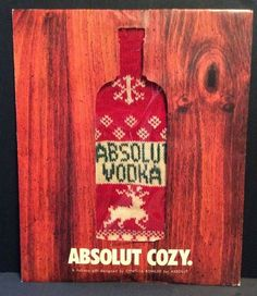 New Cynthia Rowley Absolut Vodka Ugly Sweater Cozy 1 Liter Prize Paper Sleeve #AbsolutVodka