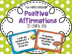 Affirmation card set and activities. 72 affirmations plus sorting sheet and weekly tracker worksheet $