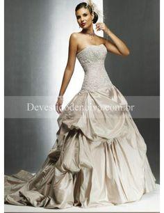 Venda quente Baile Sem Alças Tafetán Vestidos de Noiva