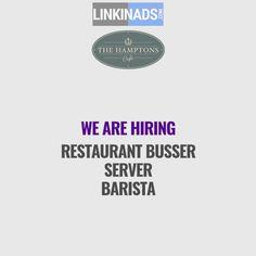 Hiring: Restaurant Busser /Server /Barista In Hospitality U0026 Restaurant On  Classified Ads