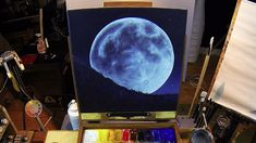 Full Moon Rising - Acrylic Painting Lesson - $14.99 #onselz