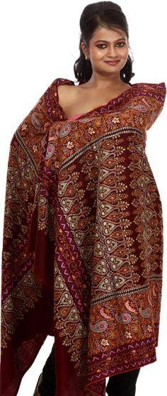 Exotic India Cordovan Kashmiri Pure Pashmina Shawl With Embroidered P - Cordovan Kashmiri Shawls, Pashmina Shawl, Cute Fashion, Fashion Brands, Paisley, Women Accessories, Sari, Pure Products, Exotic