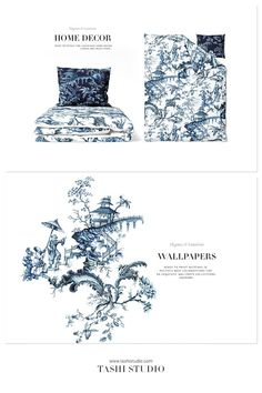 Luxurious hand painted pattern design inspired from vintage chinoiserie wallpapers. Exquisite details in indigo shades, perfect for high end fashion products as well as home Decor, interiors and accessories. #chinoiserie #handpainted #indigoart #pagodaart #asianart #printpatterns #surfacedesign #textilepatterns #drawing #textiledesign #luxurypatterns #navyblueart Textile Patterns, Textile Design, Print Patterns, Chinoiserie Wallpaper, High End Fashion, Painting Patterns, Beautiful Patterns, Asian Art, Surface Design