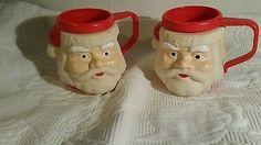 Vintage set Soft Plastic Rubber Santa Face on Hard Plastic Mug Cup Insulated